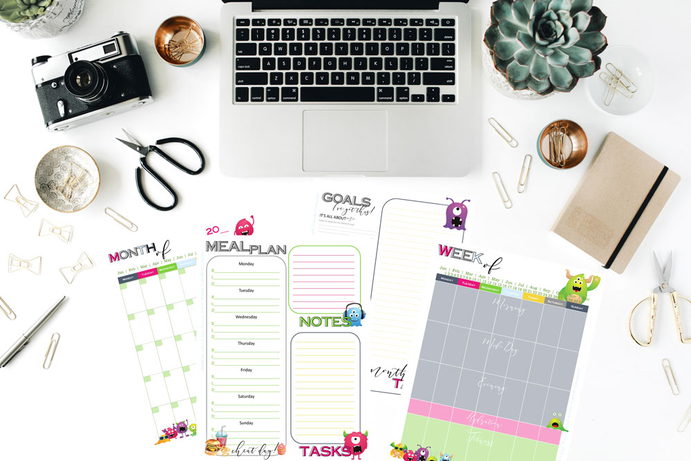 Monsters! Planner 1.0, weekly & monthly, undated planner